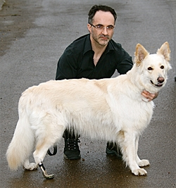 Dr Noel Fitzpatrick and Mitzi, the first dog to have an ankle amputation prosthesis