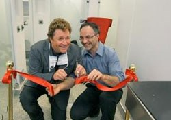 The entertainer Michael Ball yesterday opened the final phase of Fitzpatrick Referrals' new ultra-hi-tech patient ward