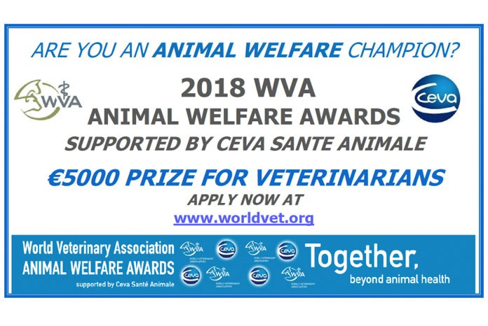 Ceva Animal Health and the World Veterinary Association (WVA) are inviting nominations for next year's Global Animal Welfare Awards, which recognise veterinary surgeons for their efforts to protect and improve the welfare of animals.