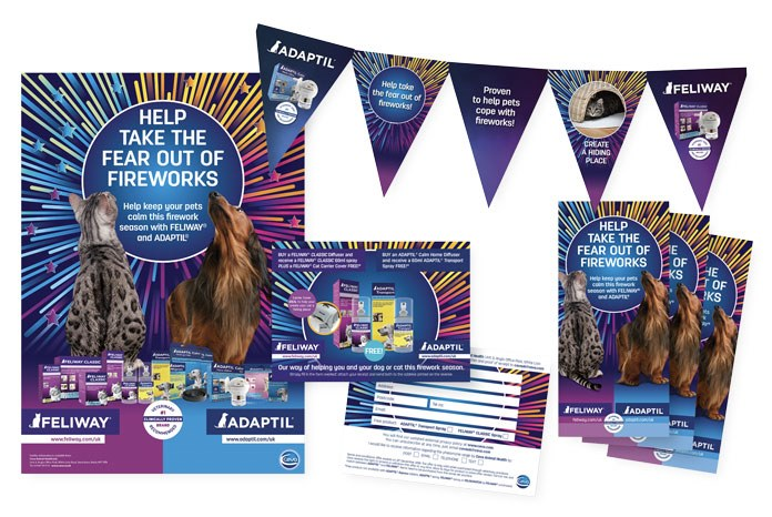 Ceva Animal Health has launched new marketing support materials to help practices raise awareness of Adaptil and Feliway in the run up to and during the fireworks and party season.